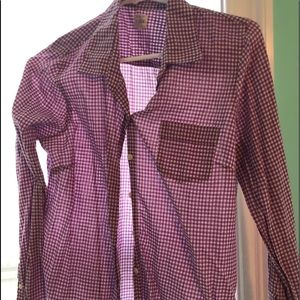 purple gingham button down shirt
